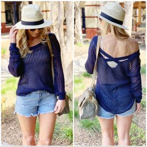 ✨RESTOCKED✨Navy Open Knit Spring Sweater